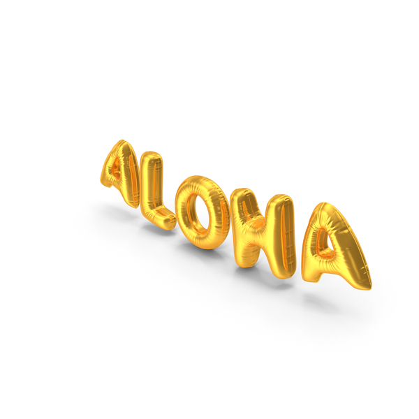 Balloons: Foil Balloon Words Aloha Gold PNG & PSD Images