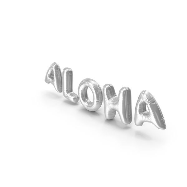 Balloons: Foil Balloon Words ALOHA Silver PNG & PSD Images