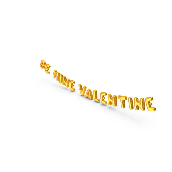 Balloons: Foil Balloon Words BE MINE VALENTINE Gold PNG & PSD Images