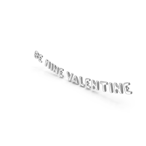 Balloons: Foil Balloon Words BE MINE VALENTINE Silver PNG & PSD Images
