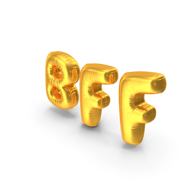 Balloons: Foil Balloon Words BFF Gold PNG & PSD Images