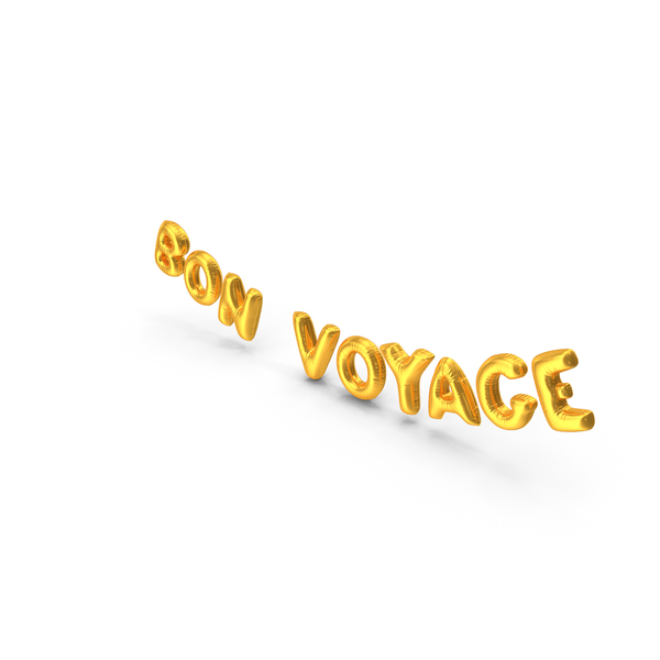 Balloons: Foil Balloon Words BON VOYAGE Gold PNG & PSD Images
