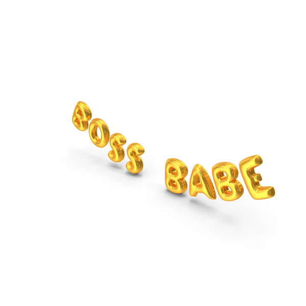 Balloons: Foil Balloon Words Boss Babe Gold PNG & PSD Images