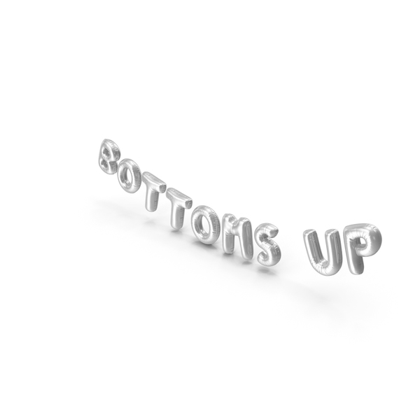 Balloons: Foil Balloon Words BOTTOMS UP Silver PNG & PSD Images