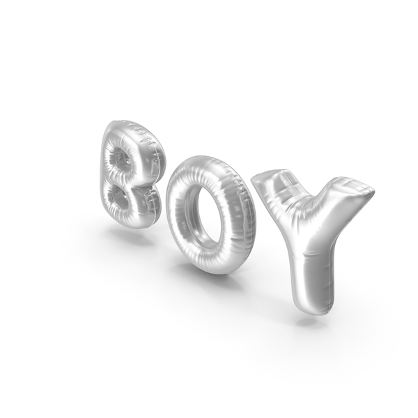 Balloons: Foil Balloon Words Boy Silver PNG & PSD Images