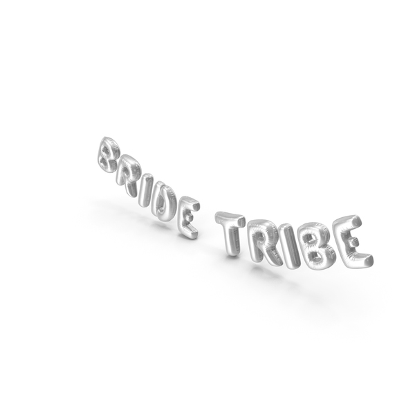 Balloons: Foil Balloon Words Bride Tribe Silver PNG & PSD Images