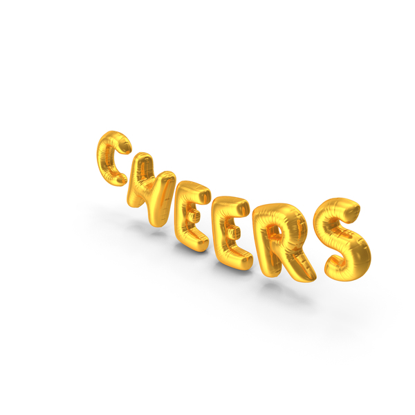 Balloons: Foil Balloon Words Cheers Gold PNG & PSD Images