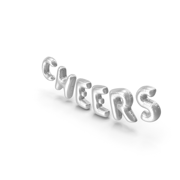 Balloons: Foil Balloon Words Cheers Silver PNG & PSD Images