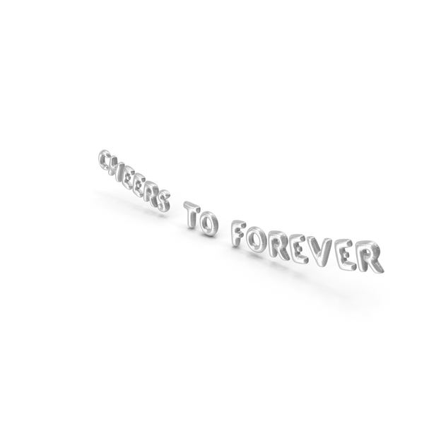 Balloons: Foil Balloon Words CHEERS TO FOREVER Silver PNG & PSD Images