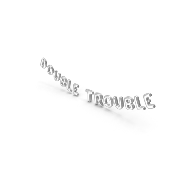 Foil Balloon Words Double Trouble Silver PNG & PSD Images