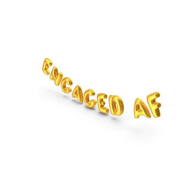Balloons: Foil Balloon Words ENGAGED AF Gold PNG & PSD Images
