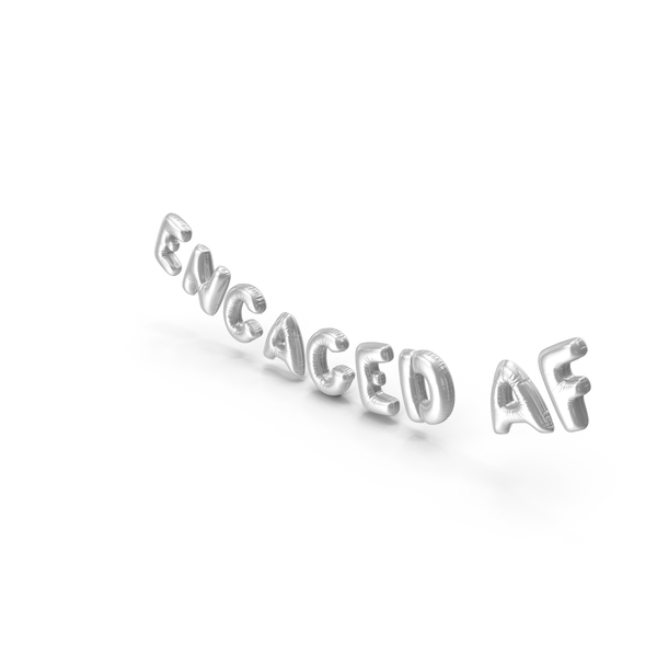 Balloons: Foil Balloon Words ENGAGED AF Silver PNG & PSD Images
