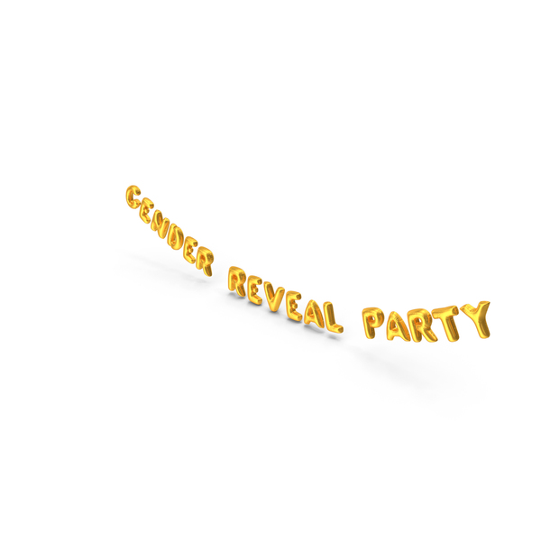 Balloons: Foil Balloon Words Gender Reveal Party Gold PNG & PSD Images