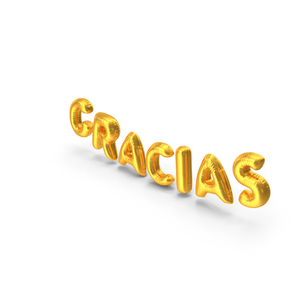 Balloons: Foil Balloon Words GRACIAS Gold PNG & PSD Images