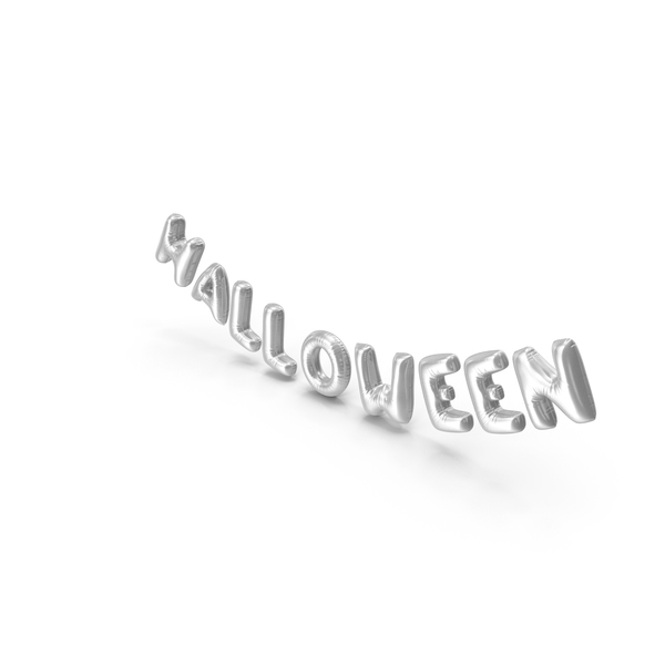 Balloons: Foil Balloon Words Halloween Silver PNG & PSD Images