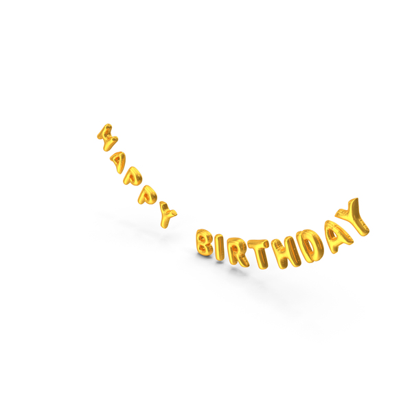 Foil Balloon Words Happy Birthday Gold PNG & PSD Images