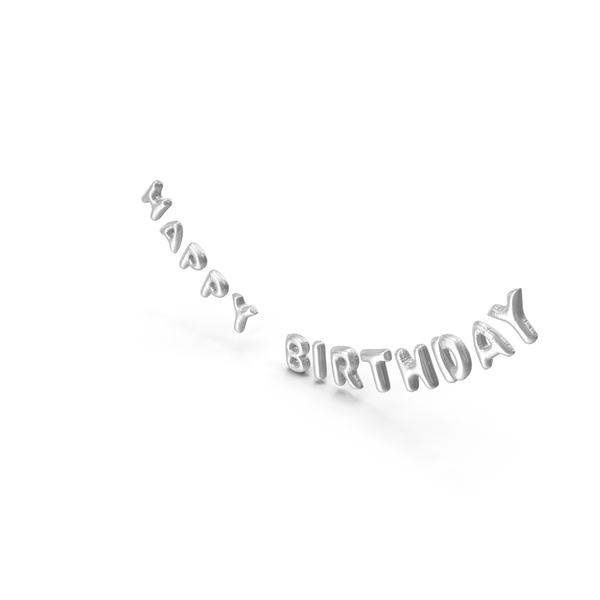 Balloons: Foil Balloon Words Happy Birthday Silver PNG & PSD Images