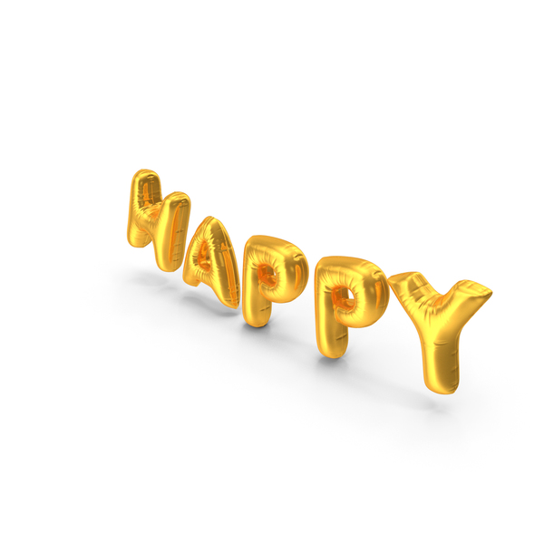Foil Balloon Words Happy Gold PNG & PSD Images