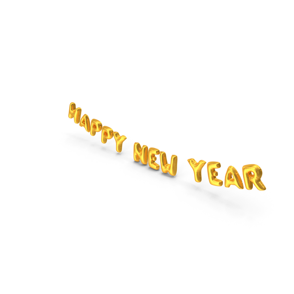 Balloons: Foil Balloon Words Happy New Year Gold PNG & PSD Images