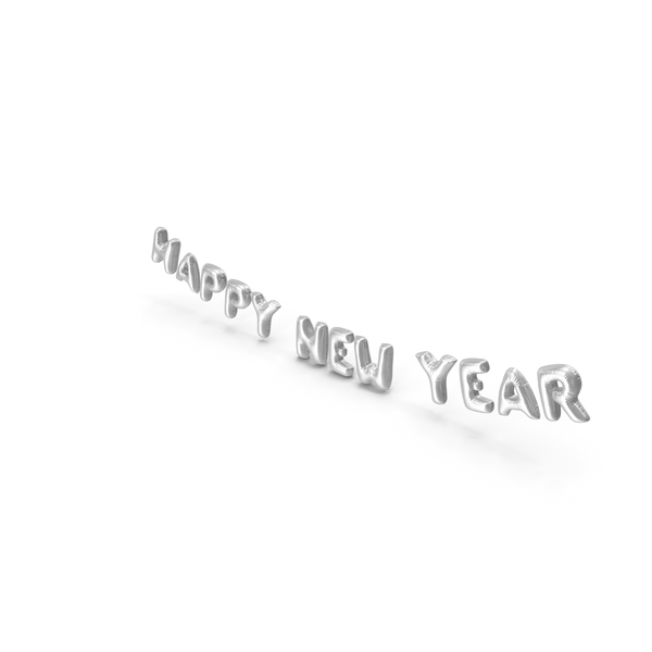 Balloons: Foil Balloon Words Happy New Year Silver PNG & PSD Images