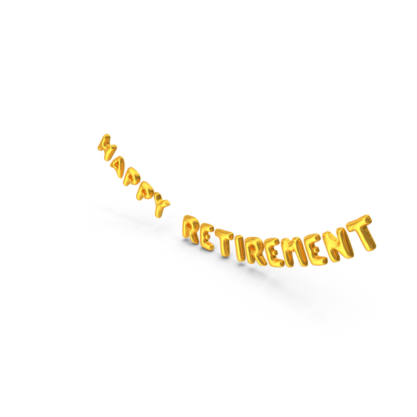 Balloons: Foil Balloon Words  Happy Retirement Gold PNG & PSD Images