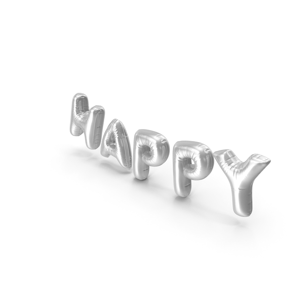 Balloons: Foil Balloon Words Happy Silver PNG & PSD Images