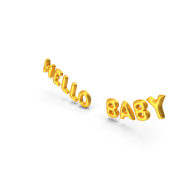Balloons: Foil Balloon Words Hello Baby Gold PNG & PSD Images