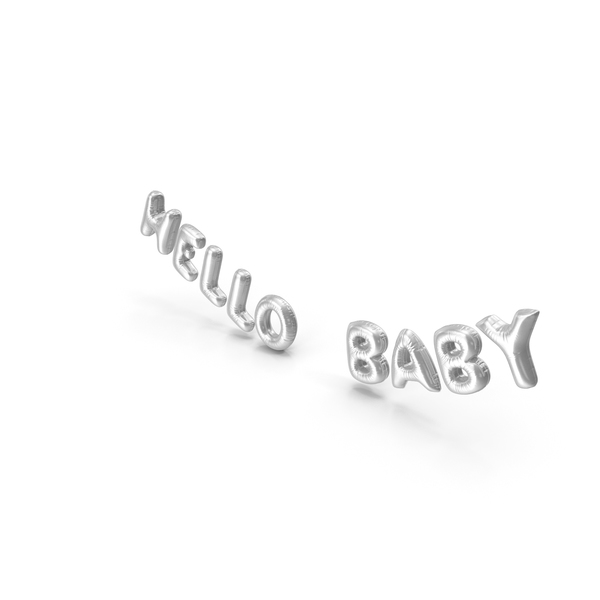 Balloons: Foil Balloon Words Hello Baby Silver PNG & PSD Images