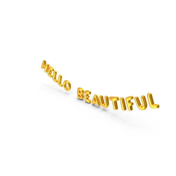 Balloons: Foil Balloon Words Hello Beautiful Gold PNG & PSD Images