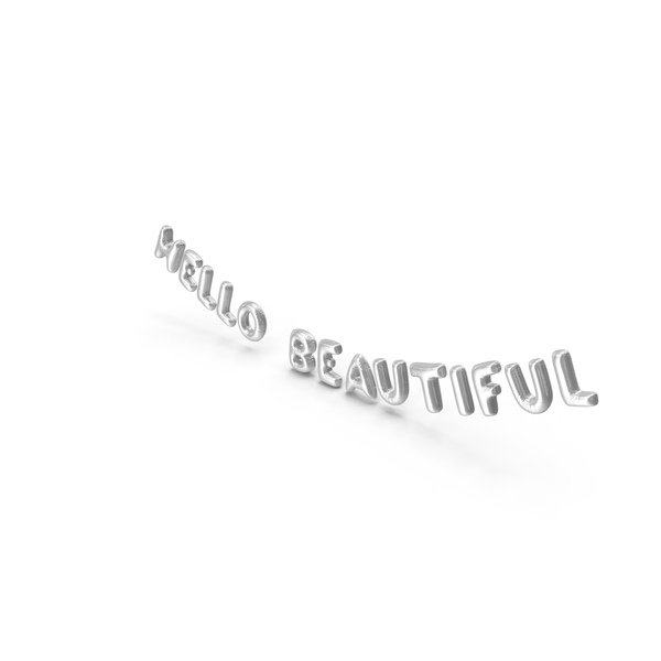 Balloons: Foil Balloon Words Hello Beautiful Silver PNG & PSD Images
