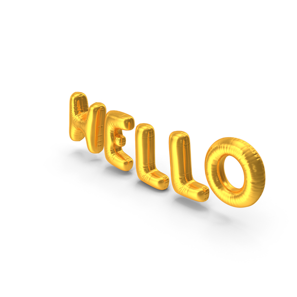 Balloons: Foil Balloon Words Hello Gold PNG & PSD Images