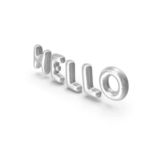 Balloons: Foil Balloon Words Hello Silver PNG & PSD Images