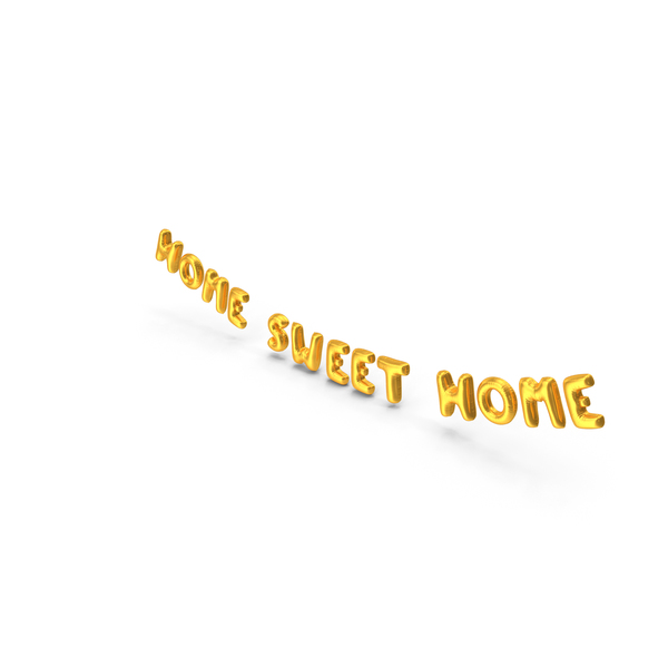 Balloons: Foil Balloon Words Home Sweet Home Gold PNG & PSD Images
