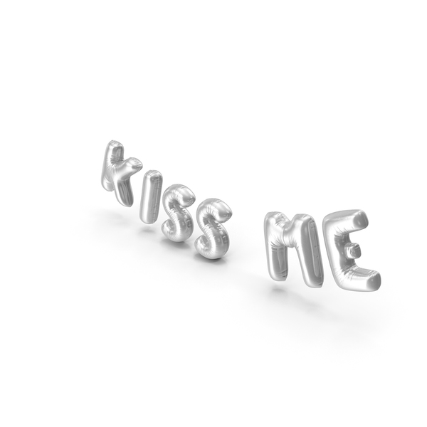 Balloons: Foil Balloon Words Kiss Me Silver PNG & PSD Images