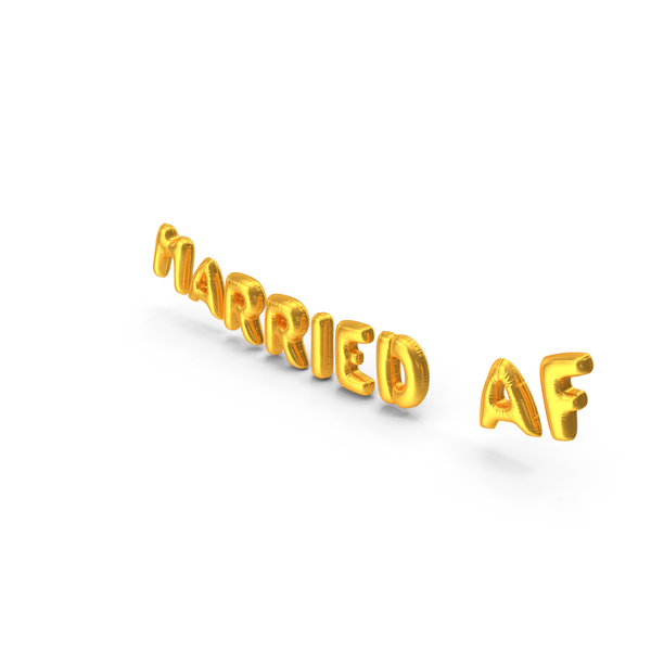 Balloons: Foil Balloon Words Married AF Gold PNG & PSD Images