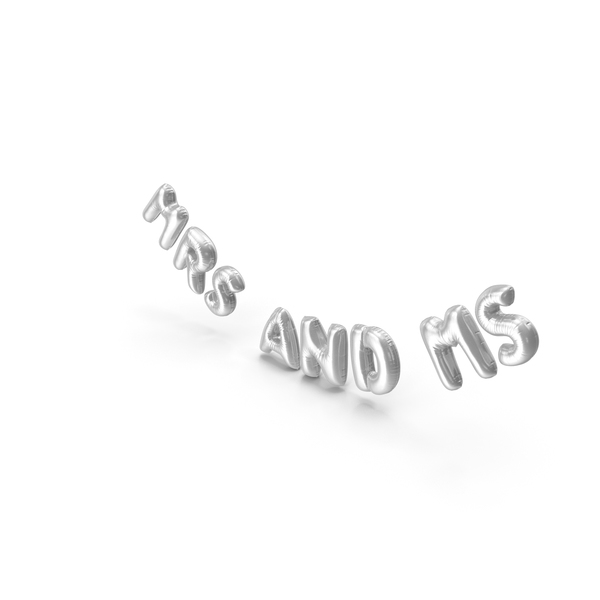 Balloons: Foil Balloon Words Mrs and Mr Silver PNG & PSD Images