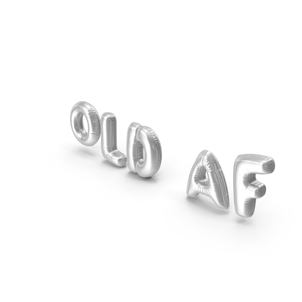 Balloons: Foil Balloon Words Old AF Silver PNG & PSD Images