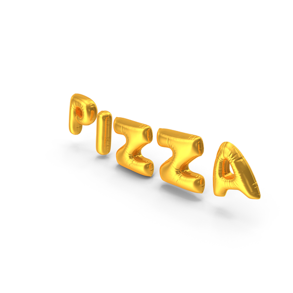 Balloons: Foil Balloon Words Pizza Gold PNG & PSD Images