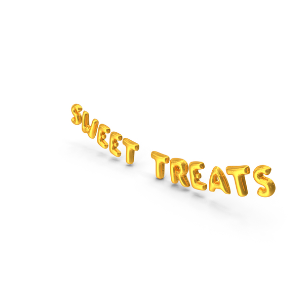 Foil Balloon Words Sweet Treats Gold PNG & PSD Images