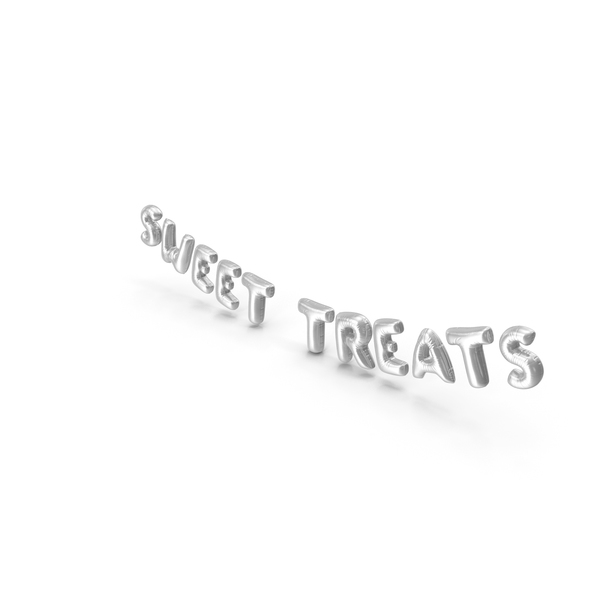 Foil Balloon Words Sweet Treats Silver PNG & PSD Images