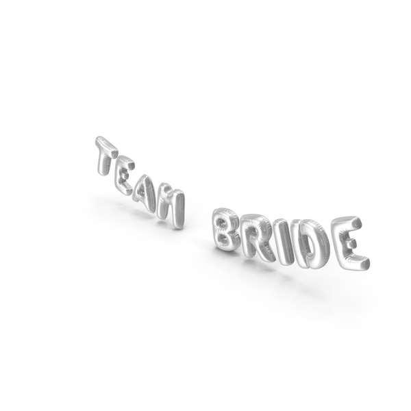 Balloons: Foil Balloon Words Team Bride Silver PNG & PSD Images