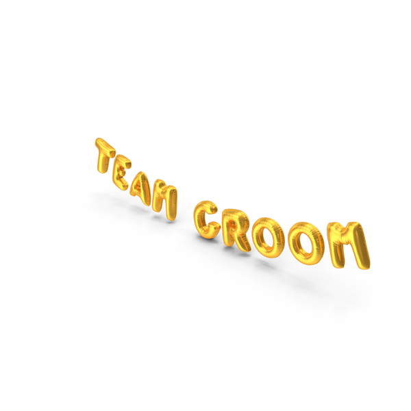 Balloons: Foil Balloon Words Team Groom Gold PNG & PSD Images