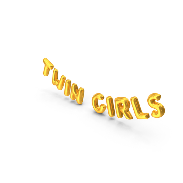 Foil Balloon Words Twin Girls Gold PNG & PSD Images