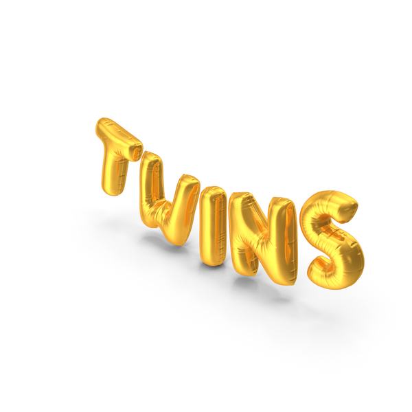 Balloons: Foil Balloon Words Twins Gold PNG & PSD Images