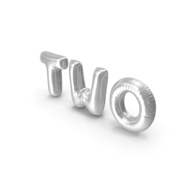 Language: Foil Balloon Words Two Silver PNG & PSD Images