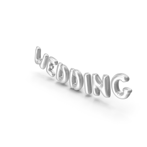 Balloons: Foil Balloon Words Wedding Silver PNG & PSD Images