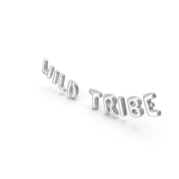 Industrial Equipment: Foil Balloon Words Wild Tribe Silver PNG & PSD Images