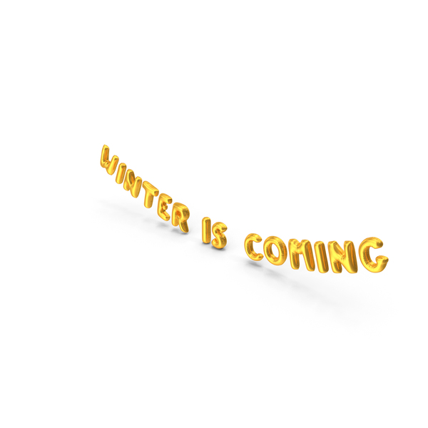 Balloons: Foil Balloon Words Winter is Coming Gold PNG & PSD Images