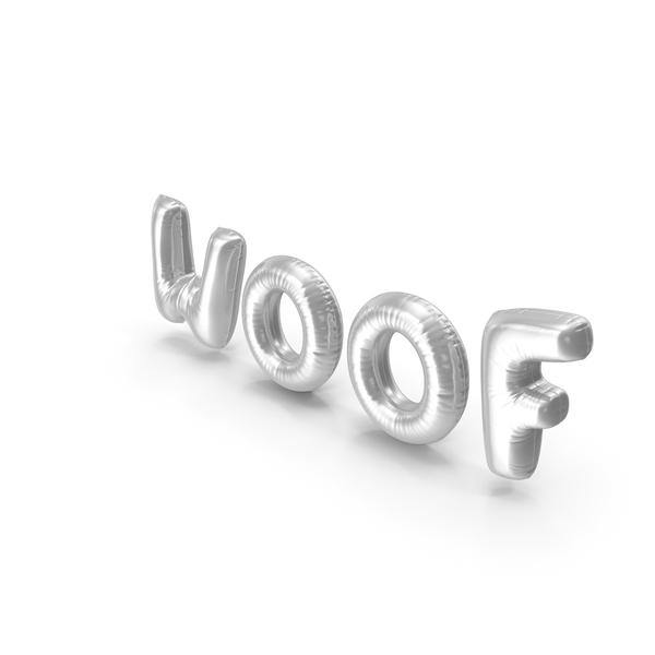 Balloons: Foil Balloon Words Woof Silver PNG & PSD Images