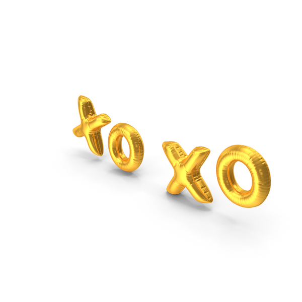 Industrial Equipment: Foil Balloon Words XO XO Gold PNG & PSD Images